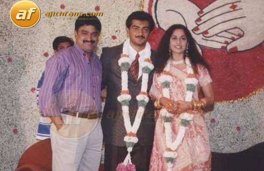 Actor Chinni Jayenth With The Ajith Shalni On Their Wedding